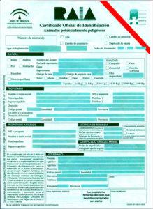 Certificado identificación para perros potencialmente peligrosos