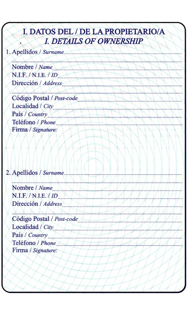 Pasaporte apartado propietario