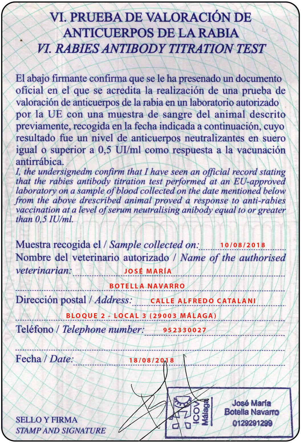 sección 6 del pasaporte comunitario